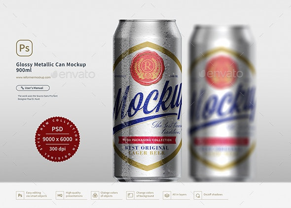 Glossy Metallic Can Mockup 900ml - Product Mock-Ups Graphics