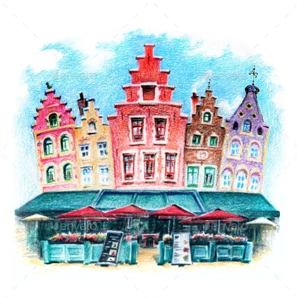 Bruges Houses and Market, Belgium - Illustrations Graphics