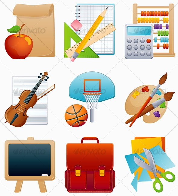 education icon set - Man-made Objects Objects