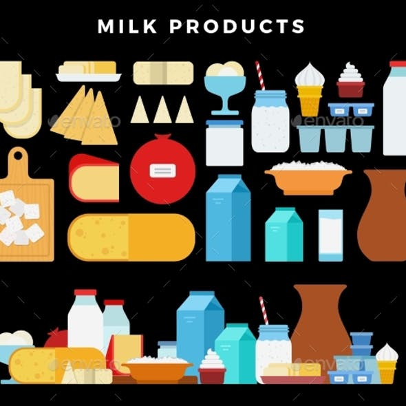 Milk Products Icon Set Milk and Cheese Showcase