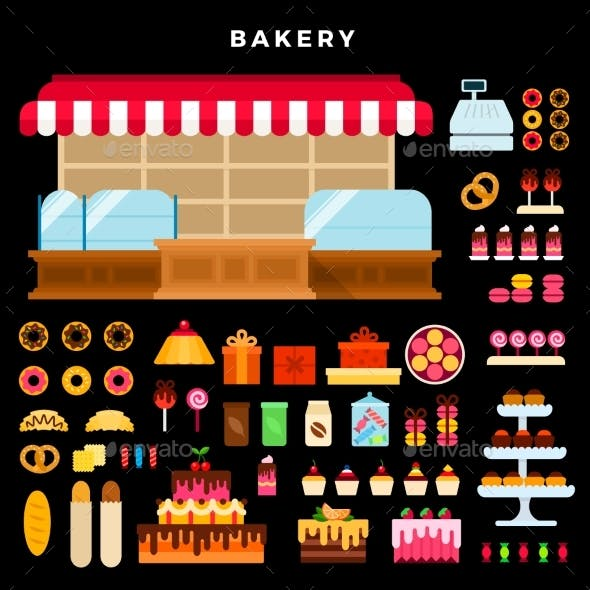 Confectionery Counter and Bakery Products Vector
