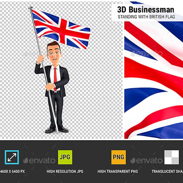 3D Businessman Standing with British Flag