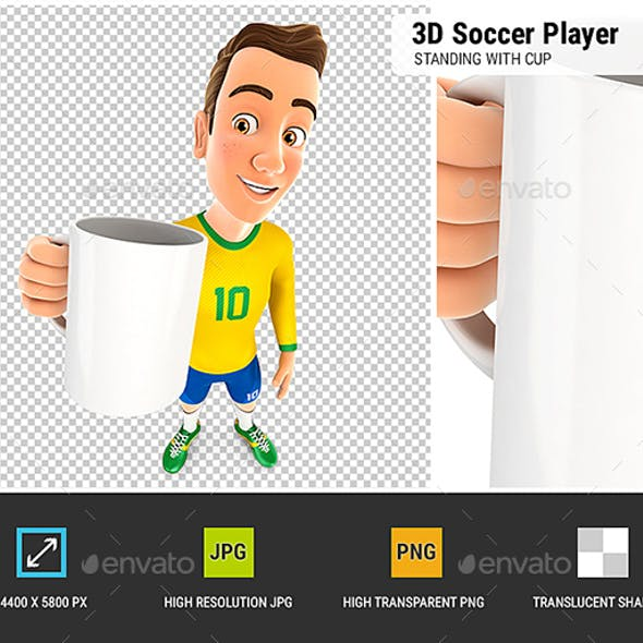 3D Soccer Player Yellow Jersey Standing with Cup