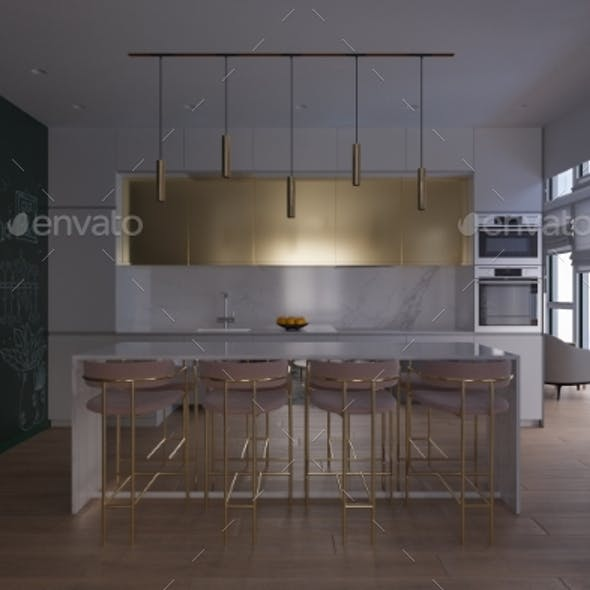 3D Render of a Kitchen with Day Lighting