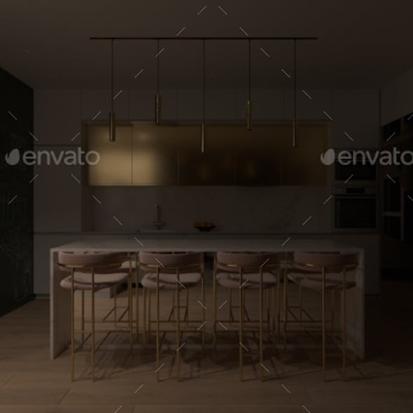 3D Render Kitchen Interior Design with Cooking