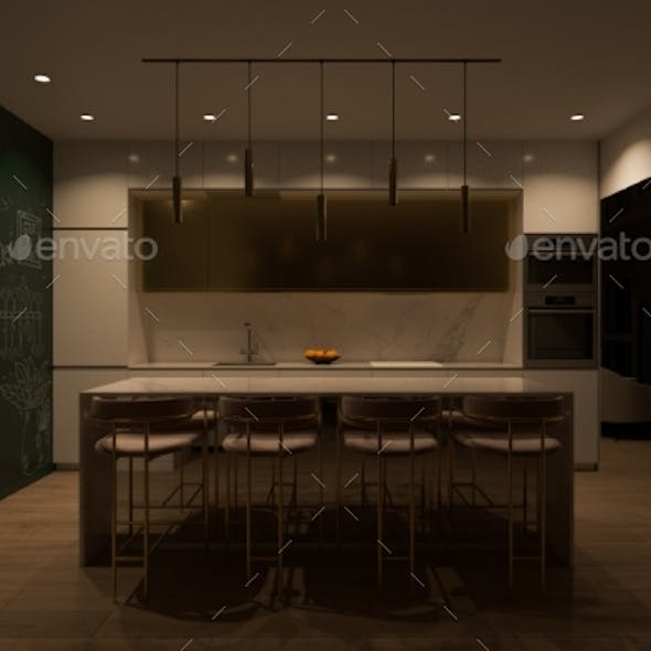 3D Render Kitchen Interior Design Cooking Island