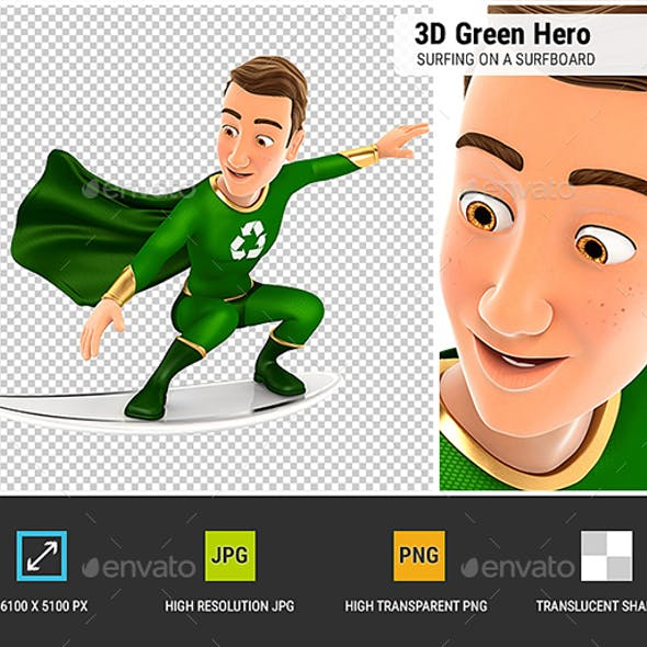 3D Green Hero Surfing on a Surfboard