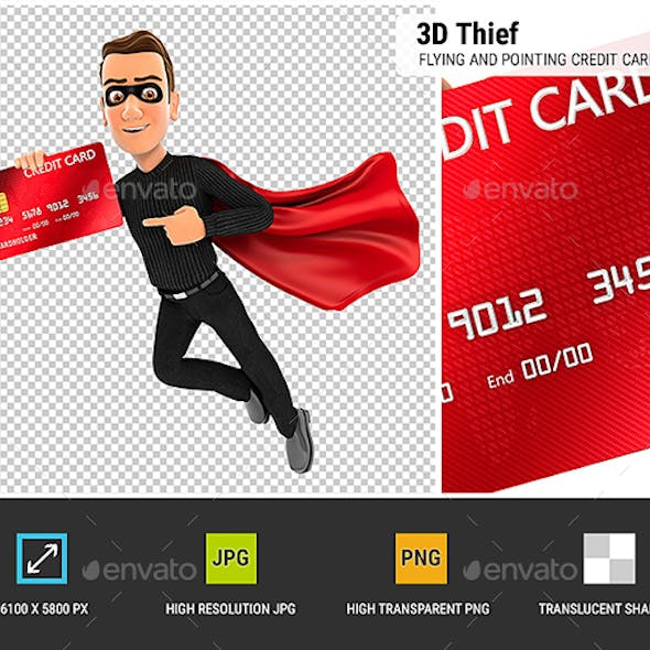 3D Thief Flying and Pointing Credit Card