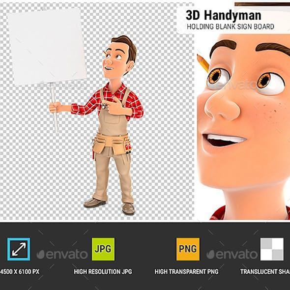 3D Handyman Holding Blank Sign Board
