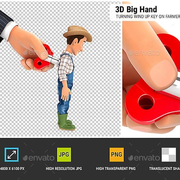 3D Big Hand Turning Wind Up Key on Farmer Back