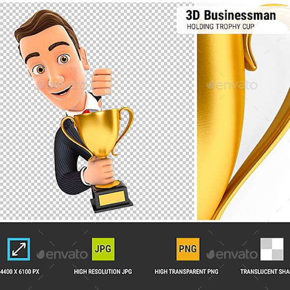 3D Businessman Behind Left Wall and Holding Trophy Cup