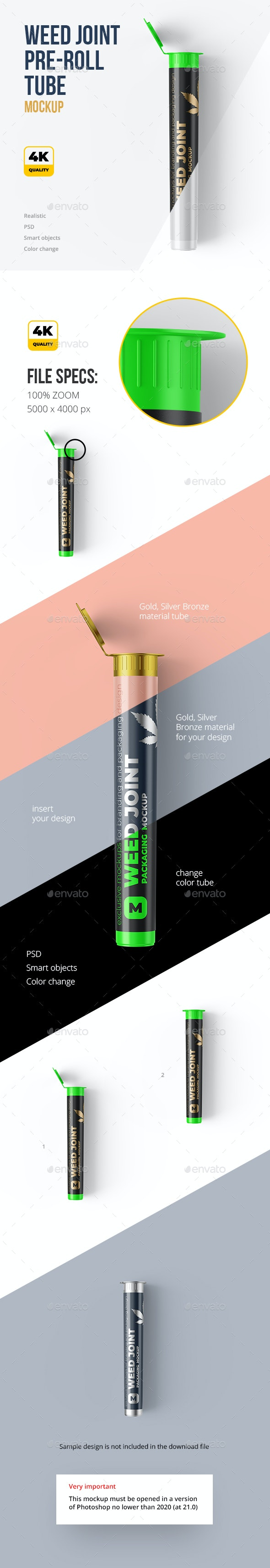 Weed Joint Pre Roll Plastic Tube. 2 PSD - Food and Drink Packaging