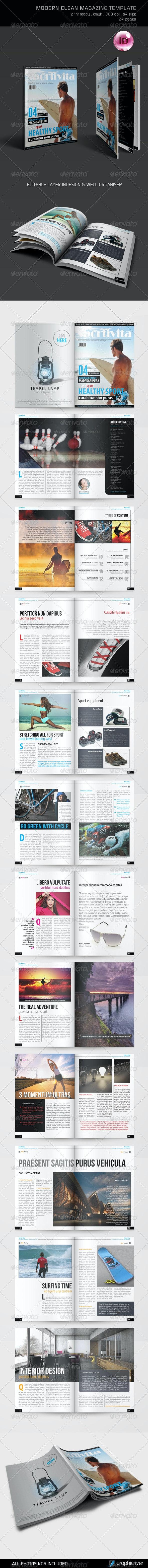 Modern Clean Magazine Template - Magazines Print Templates