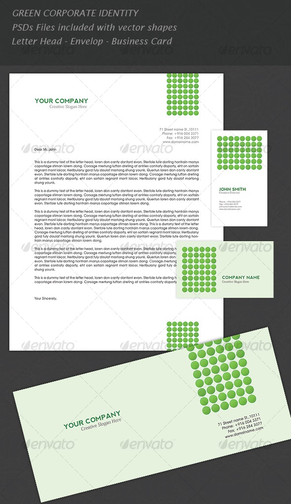 GREEN CORPORATE IDENTITY - Corporate Business Cards