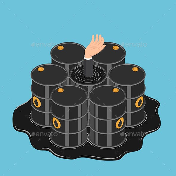 Isometric Businessman Hand Get Drowned in Oil Barrels