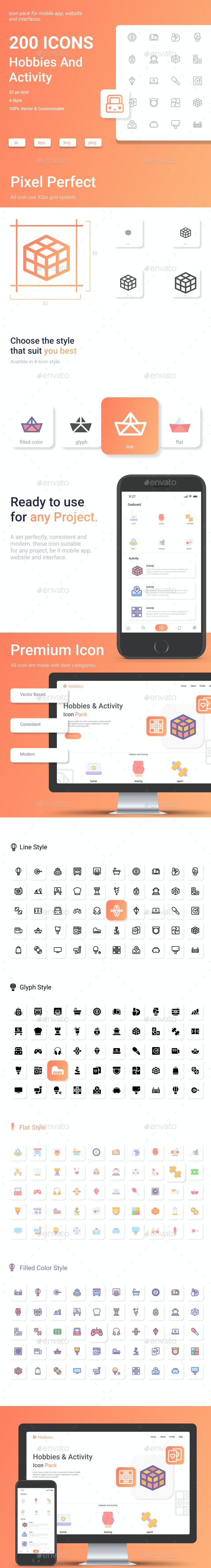 Hobbies And Activity Icon Pack - Miscellaneous Characters