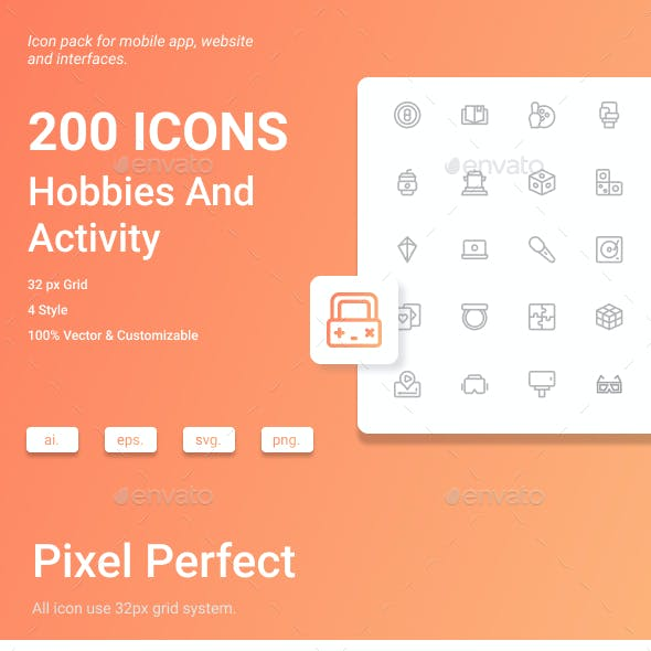 Hobbies And Activity Icon Pack