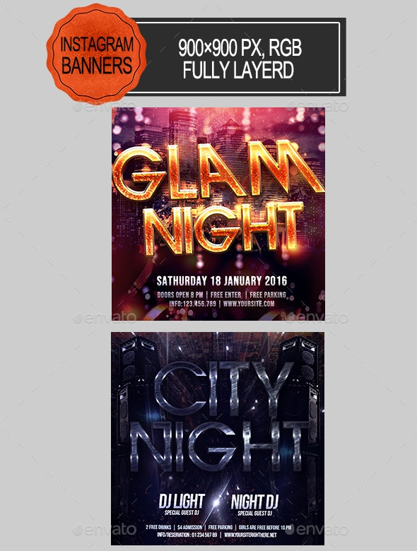 Party Night Instagram Banners - Banners & Ads Web Elements