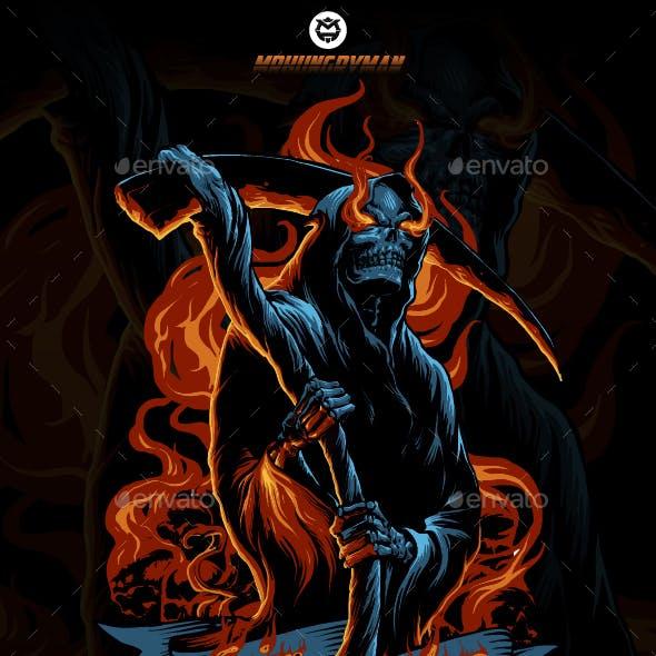 Grim Reaper On Fire