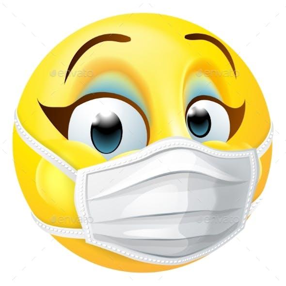 Woman Emoticon Emoji PPE Medical Mask Face Icon