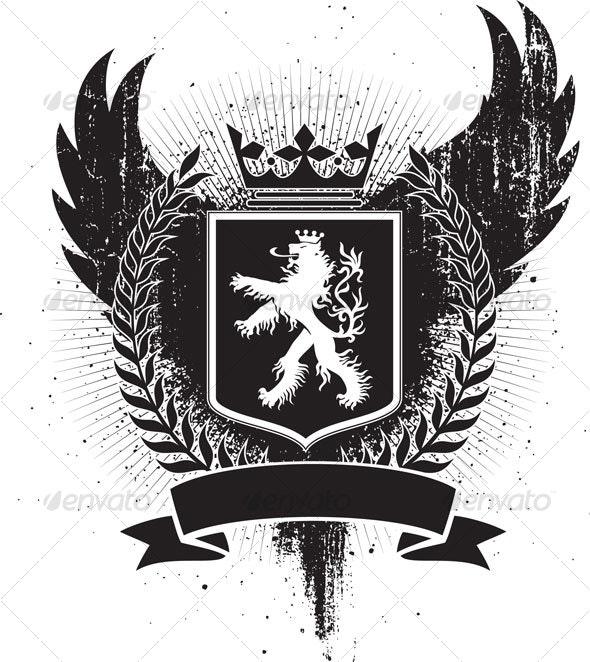 Heraldic lion crest - Decorative Symbols Decorative