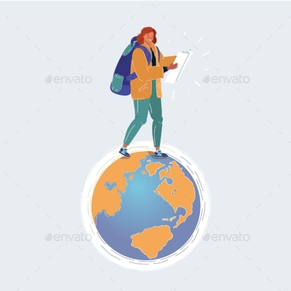 Vector Illustration of Woman Tourist with Backpack