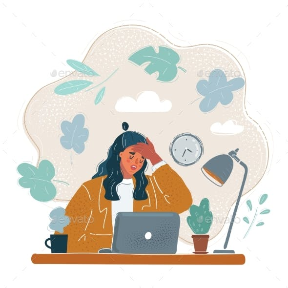 Vector Illustration of Tired Woman