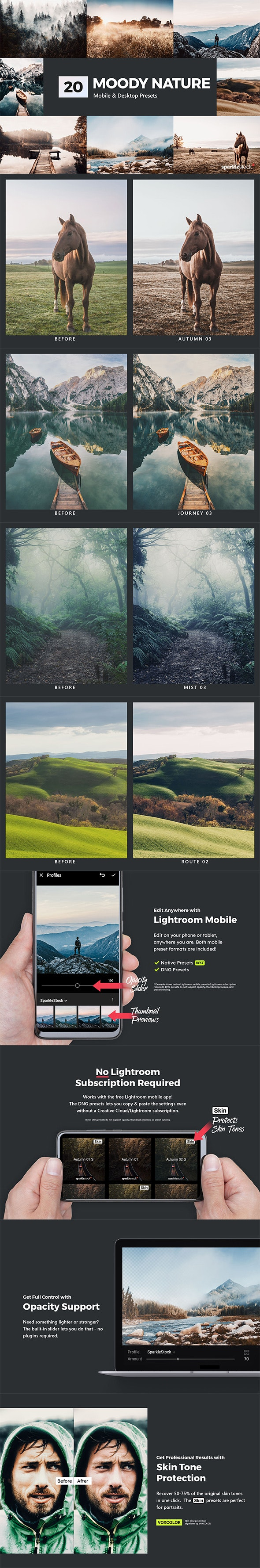 20 Moody Nature Lightroom Presets & LUTs - Landscape Lightroom Presets