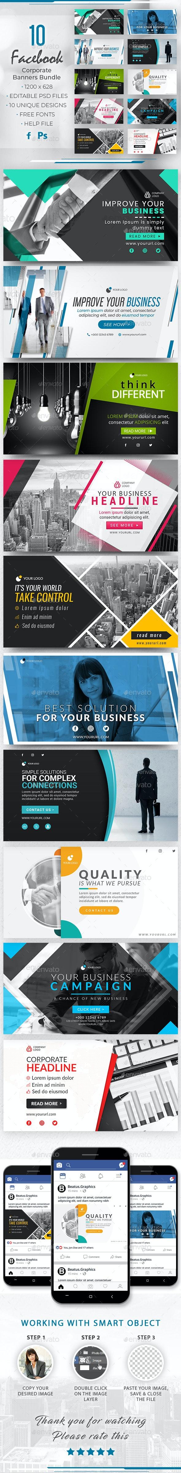 Facebook Corporate Banners Bundle - Social Media Web Elements