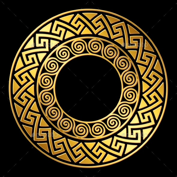 Vector Gold Greek Ornament Meander - Flowers & Plants Nature