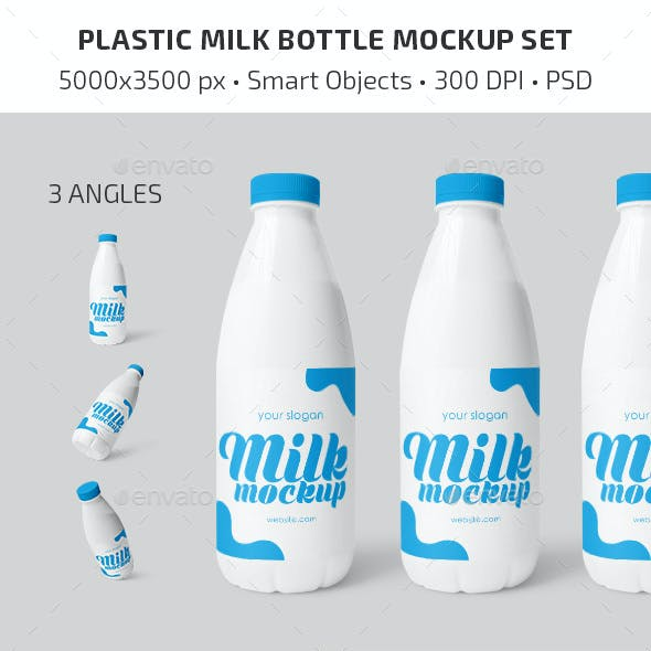 Plastic Milk Bottle Mockup Set