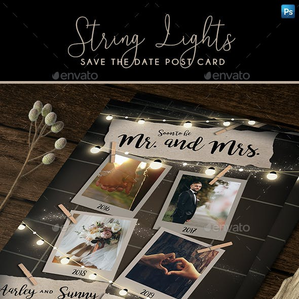 String Lights Save the Date Post Card