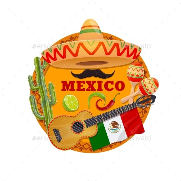 Mexican Sombrero Hat, Guitar, Maracas and Chilli