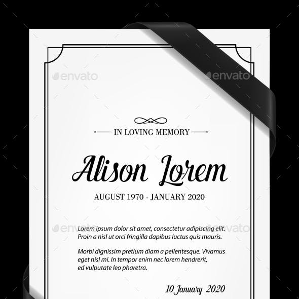 Funeral Card Vector Template with Black Frame