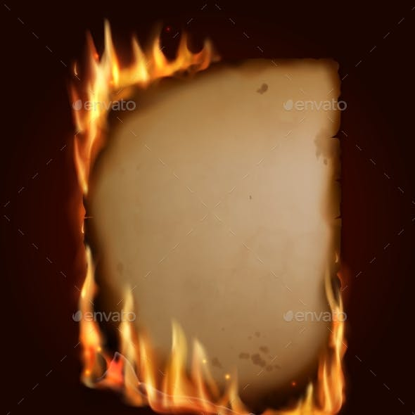 Old Burning Paper, Vector Burn Parchment Torn Page
