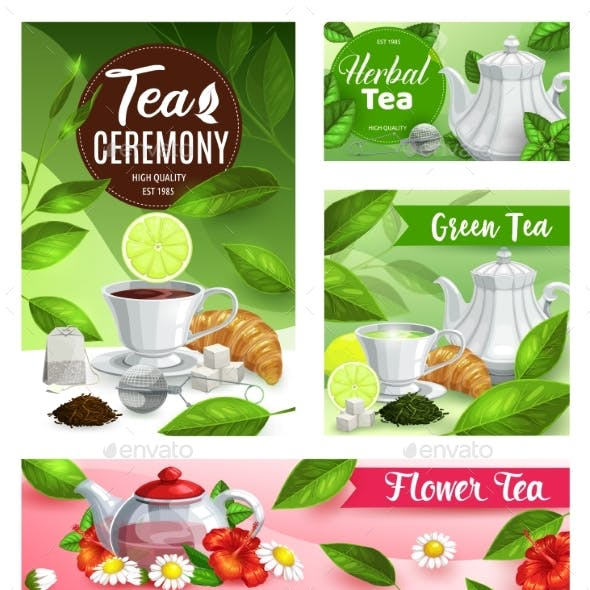 Tea Vector Posters with Cup, Teapot and Flowers