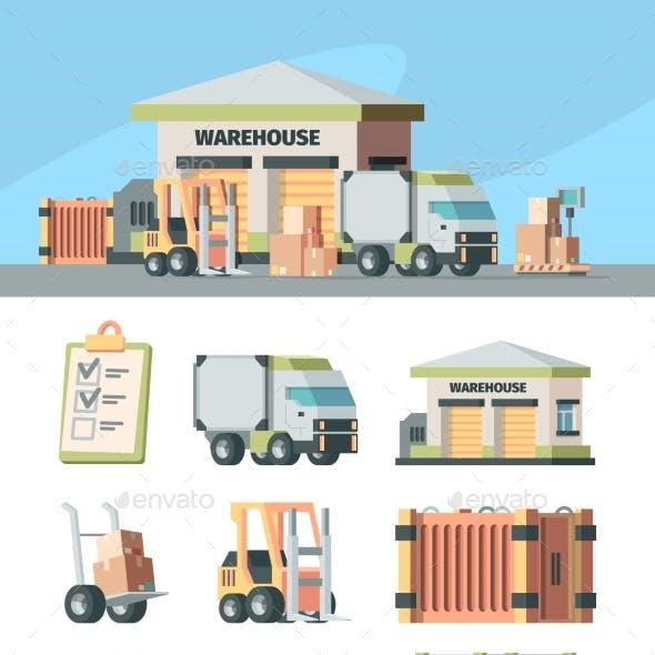 Logistics Warehouse and Transport Set. Cargo