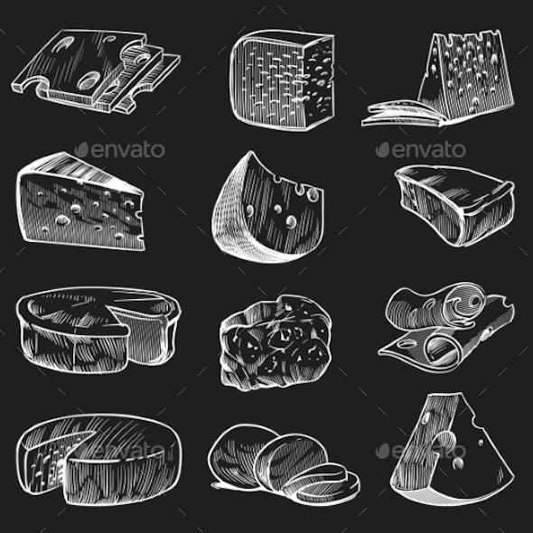 Hand Drawn Cheese. Chalkboard Sketch Various Types
