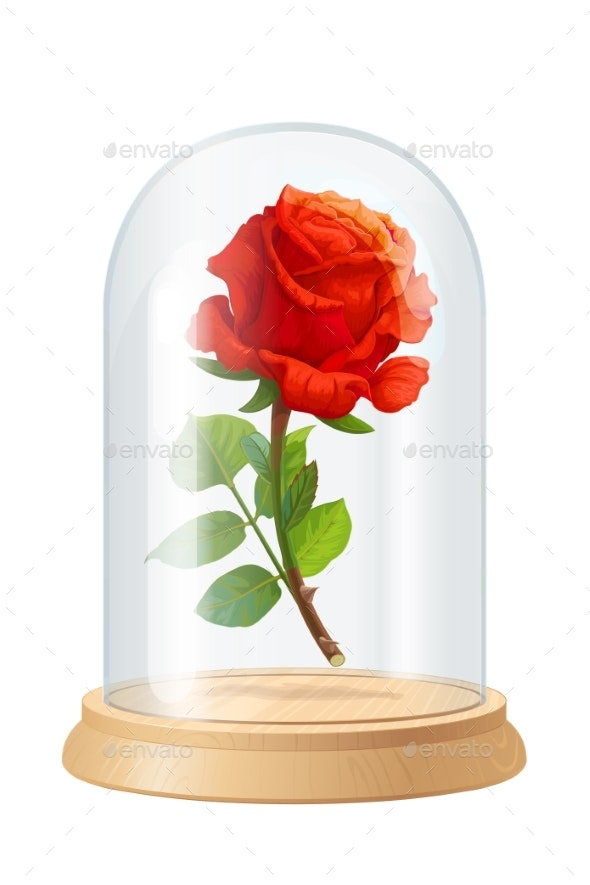 Vector Red Rose Glass Flask - Flowers & Plants Nature