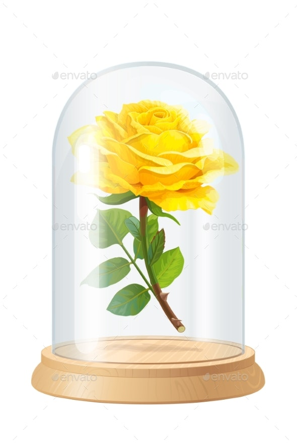 Vector Yellow Rose Glass Flask - Flowers & Plants Nature