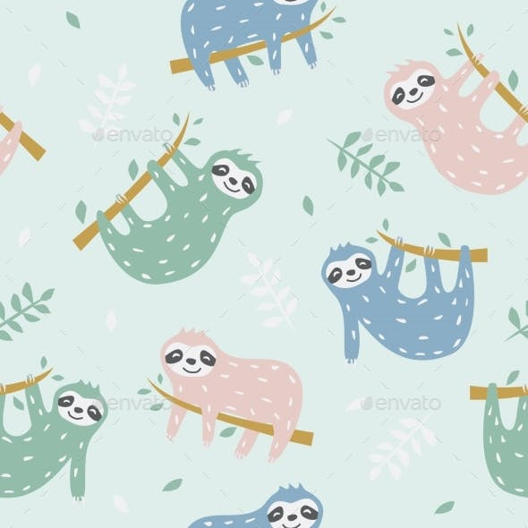 Childish Seamless Pattern with Sloths