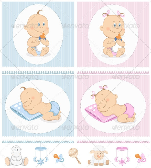 Baby Arrival Announcement Set With Toys