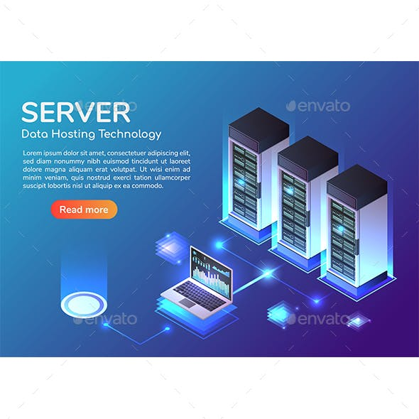 Isometric Web Banner Server Room and Hosting Storage Technology