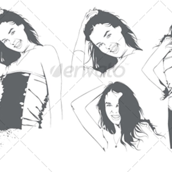 Beautiful Young Girl, Vector Portrait