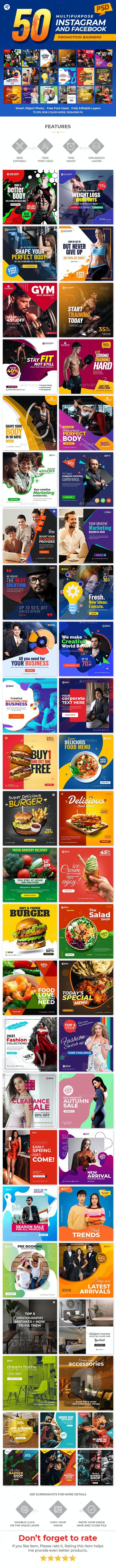 50-Instagram & Facebook Promotional Banners