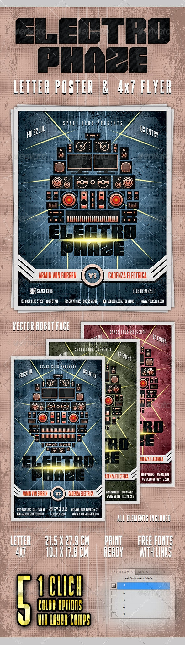Electro Phaze Poster and Flyer - Clubs & Parties Events