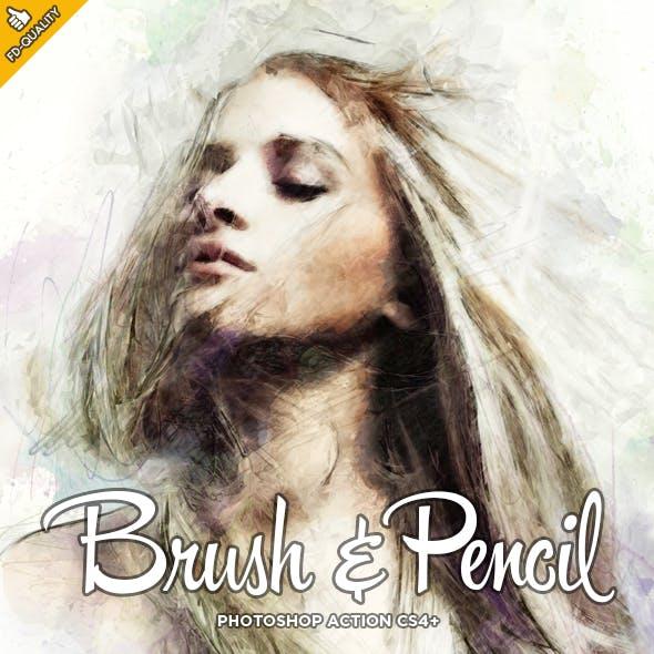 Pencil & Brush CS4+ Photoshop Action