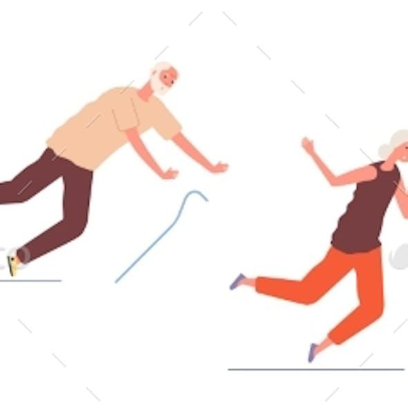 Falling Elderly People. Old Woman Man Stumble