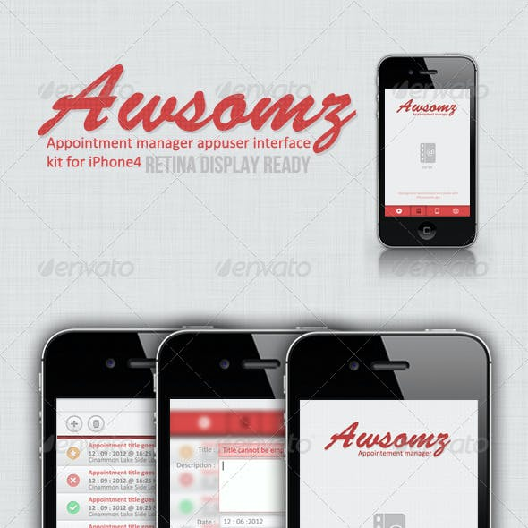 Retina de Awsomz Appointment Manager iPhone Ui Kit