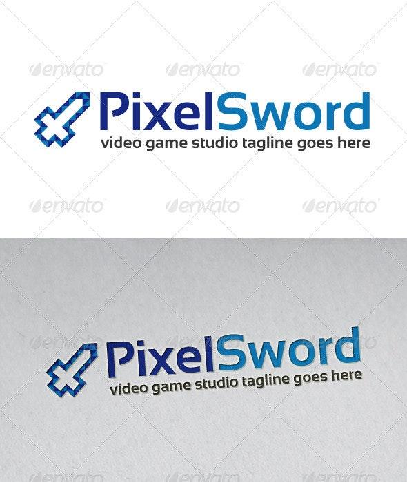 Pixel Sword Logo - Vector Abstract